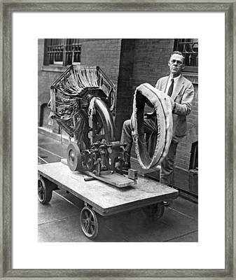 Portable Tire Making Device Framed Print by Underwood Archives