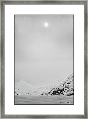Portage Lake In Fog Framed Print