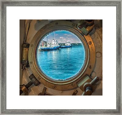 Hmcs Haida Porthole  Framed Print by Garvin Hunter