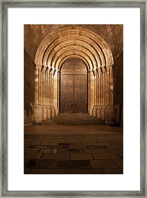 Portal Of The Lisbon Cathedral At Night In Portugal Framed Print