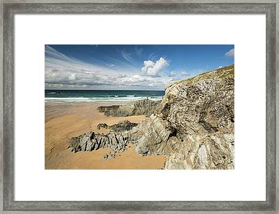 Porth Joke On Pentire Point Framed Print by Ashley Cooper