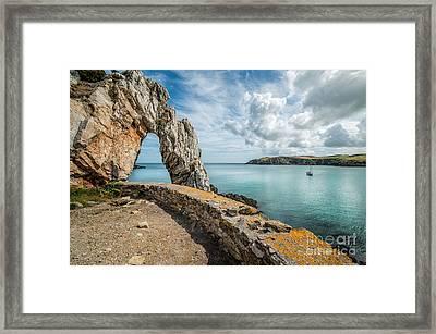 Porth Wen Arch Framed Print by Adrian Evans