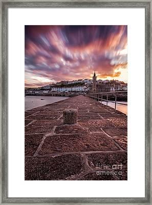 Porthleven Pier Sunrise Framed Print by John Farnan