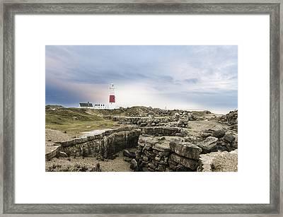 Portland Bill Lighthouse Moody Skies Framed Print