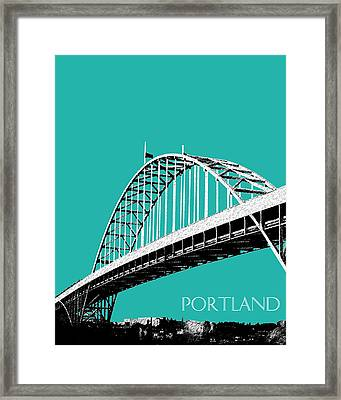 Portland Bridge - Teal Framed Print by DB Artist