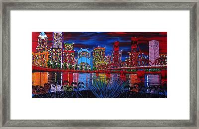 Portland City Lights 33 Framed Print by Portland Art Creations