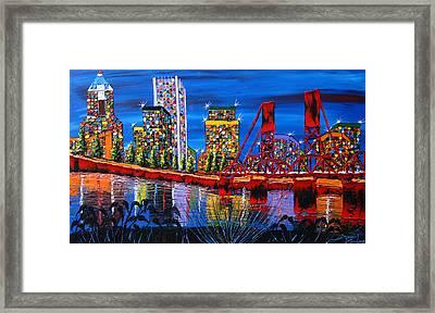 Portland City Lights 34 Framed Print by Portland Art Creations