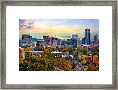 Portland Downtown Cityscape In The Fall Framed Print
