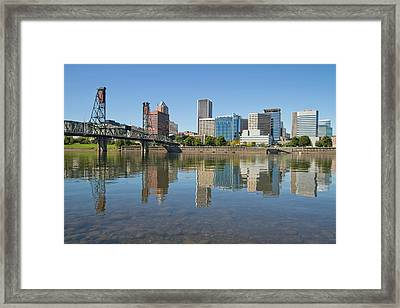 Framed Print featuring the photograph Portland Downtown Skyline And Hawthorne Bridge by JPLDesigns