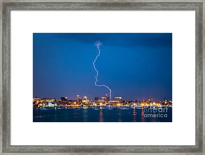 Portland Gets Zapped Framed Print by Benjamin Williamson