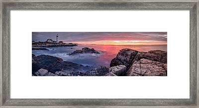 Portland Head Light And A Cloudy Sunrise Framed Print by Scott Lynde