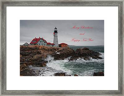 Portland Head Light At Christmas Framed Print
