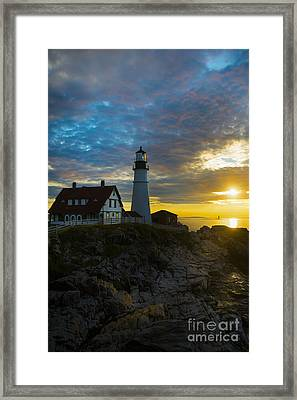 Portland Head Light At Dawn Framed Print by Diane Diederich