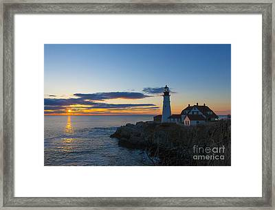 Portland Head Light At Sunrise Framed Print by Diane Diederich