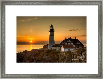 Portland Head Light At Sunrise II Framed Print by Clarence Holmes