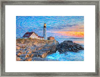Portland Head Light At Sunrise Impasto I Framed Print by Clarence Holmes