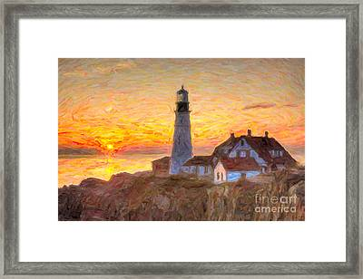 Portland Head Light At Sunrise Impasto II Framed Print by Clarence Holmes