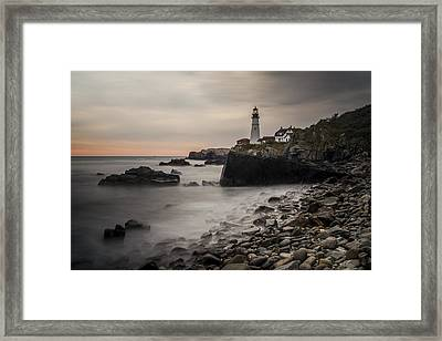 Portland Head Light At Sunrise Framed Print by Jonathan Ramsdell