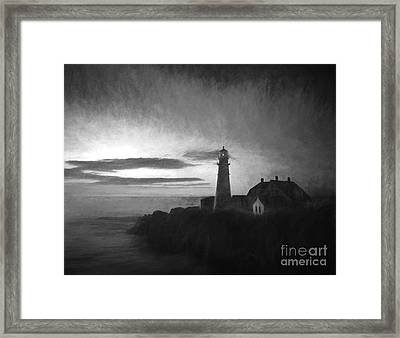 Portland Head Light At Sunrised Framed Print by Diane Diederich