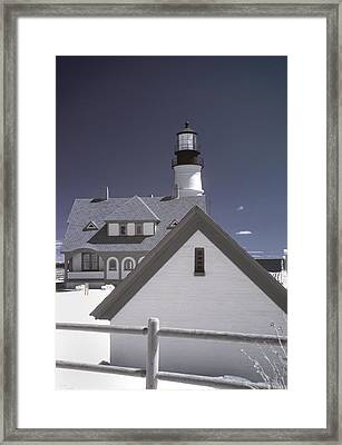 Portland Head Light In Ir Framed Print