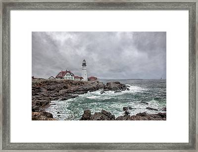 Portland Head Light Framed Print by Sara Hudock