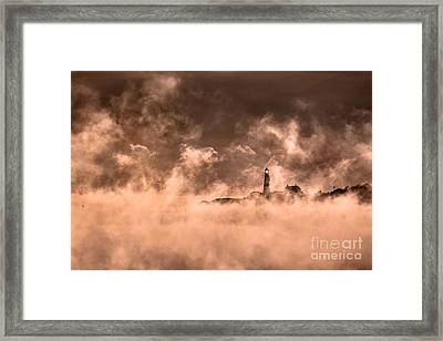 Portland Head Light Sea Smoke Framed Print by Benjamin Williamson