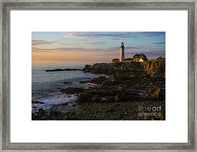 Portland Head Lighthouse At Dawn Framed Print by Diane Diederich