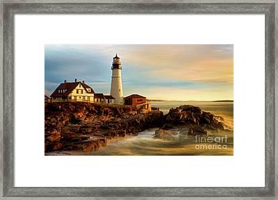 Portland Head Lighthouse At Dawn Framed Print