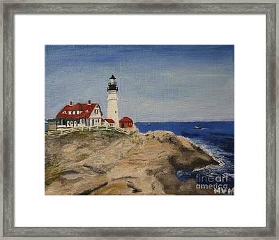 Portland Head Lighthouse In Maine Framed Print