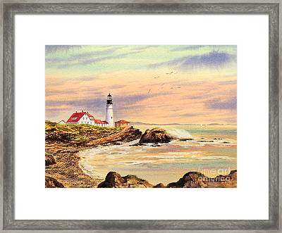 Framed Print featuring the painting Portland Head Lighthouse Maine by Bill Holkham