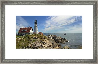 Portland Head Lighthouse Panoramic Framed Print by Mike McGlothlen