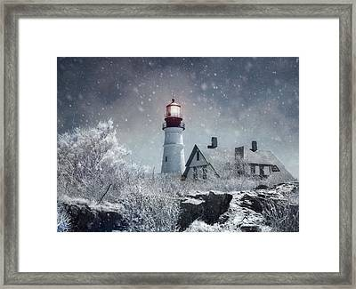 Portland Head Lighthouse Snowstorm - Cape Elizabeth Maine Framed Print by Joann Vitali