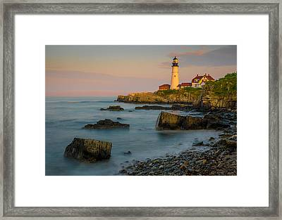 Framed Print featuring the photograph Portland Head Lighthouse by Steve Zimic