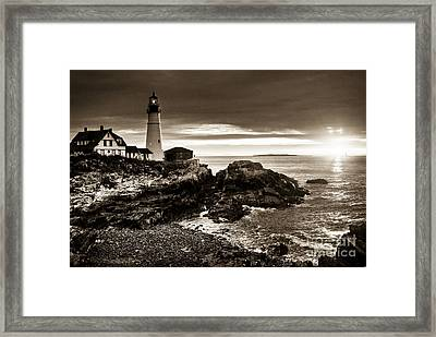 Framed Print featuring the photograph Portland Head Lighthouse Sunrise by Alana Ranney