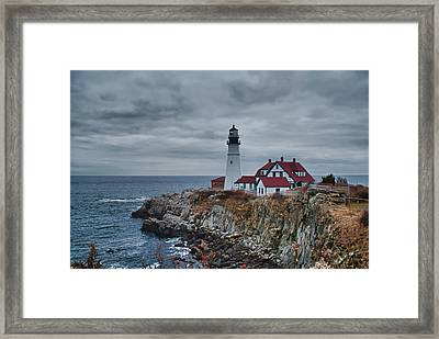 Framed Print featuring the photograph Portland Headlight 14440 by Guy Whiteley