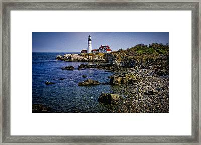 Portland Headlight 37 Oil Framed Print by Mark Myhaver