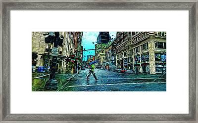 Portland In The Rain Framed Print by Cary Shapiro