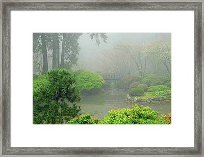 Portland Japanese Garden Fogged Framed Print by Michel Hersen