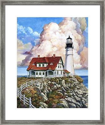 Portland Light Framed Print by Tom Wooldridge