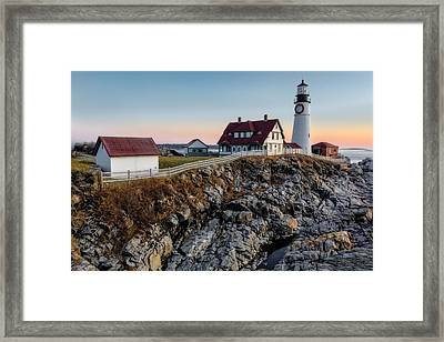 Portland Lighthouse Dawn Framed Print by Susan Candelario