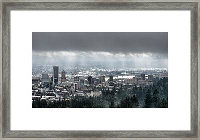 Portland Oregon After A Morning Rain Framed Print