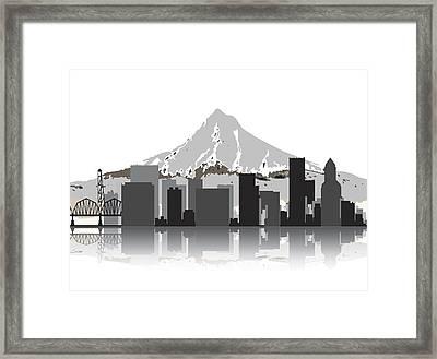 Portland Oregon Skyline 2 Framed Print