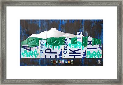 Portland Oregon Skyline License Plate Art Framed Print by Design Turnpike