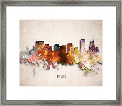 Portland Painted City Skyline Framed Print by World Art Prints And Designs