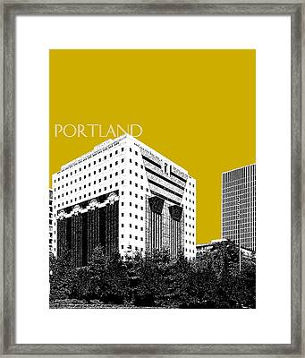 Portland Skyline Ficha Building - Gold Framed Print by DB Artist