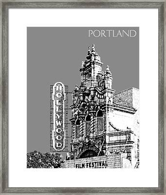 Portland Skyline Hollywood Theater - Pewter Framed Print by DB Artist