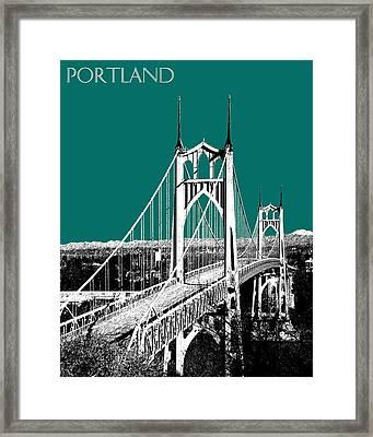 Portland Skyline St. Johns Bridge - Sea Green Framed Print by DB Artist