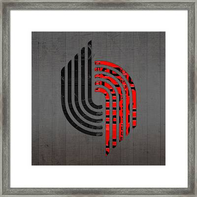 Portland Trailblazers Basketball Team Retro Logo Vintage Recycled Oregon License Plate Art Framed Print