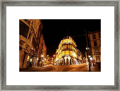 Porto Portugal At Night 1 Am Framed Print