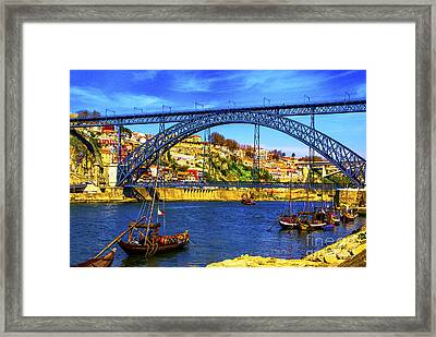 Porto Barges Framed Print by Rick Bragan